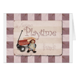 Playtime - Old School Red Wagon Card