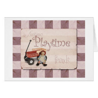 Playtime - Old School Red Wagon Greeting Card