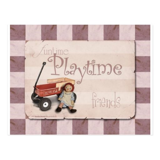 Playtime - Old School Red Wagon Postcards