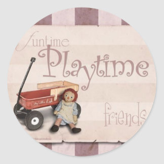 Playtime - Old School Red Wagon Classic Round Sticker