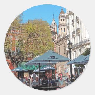 Plaza Dorrego in the Afternoon Round Sticker