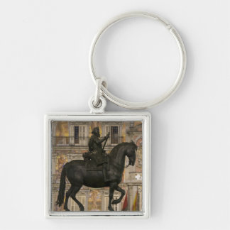 Plaza Mayor with statue of Filipe III, Madrid, Silver-Colored Square Key Ring