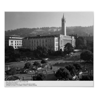 Plaza, Sather Gate from Dwinelle Roof, 1966 Poster