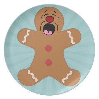 Pleading Gingerbread Man Cookie Dinner Plates