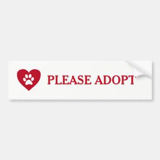"""Please Adopt"" Animal Bumper Sticker"