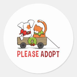 Please Adopt Patch n Rusty Christmas Wagon Round Sticker
