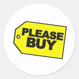please buy round sticker