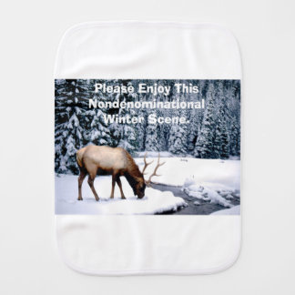Please Enjoy This Nondenominational Winter Scene. Burp Cloth