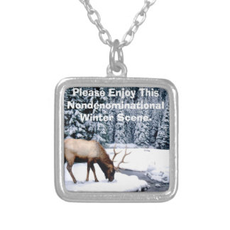 Please Enjoy This Nondenominational Winter Scene. Silver Plated Necklace