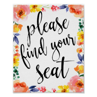 Please Find Your Seat Glitter 8x10 Wedding Sign