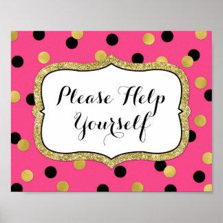 Please Help Yourself Fuchsia Black Gold Confetti Poster