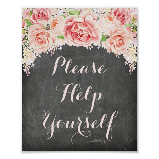 Please Help Yourself Pink Watercolor Chalkboard Poster