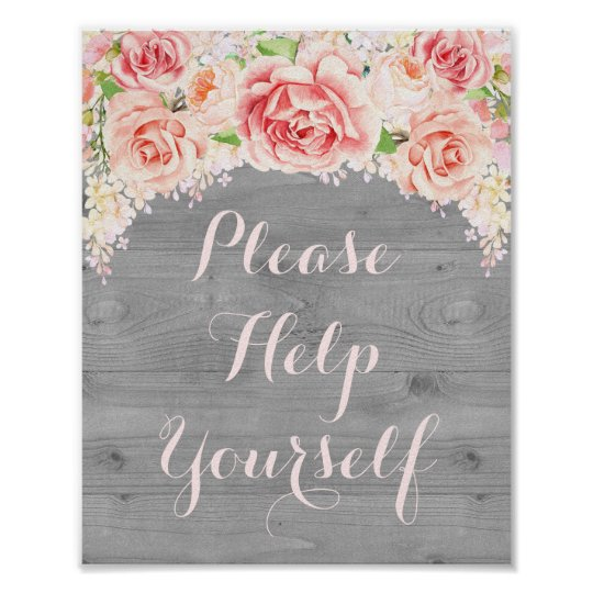 Please Help Yourself Sign Pink Watercolor Wood Poster