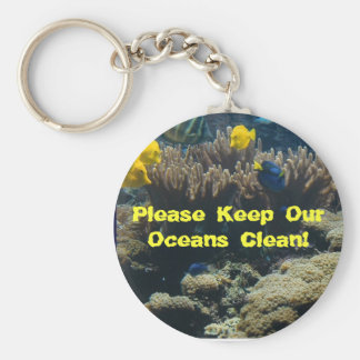 Please Keep Our Oceans Clean! Basic Round Button Key Ring