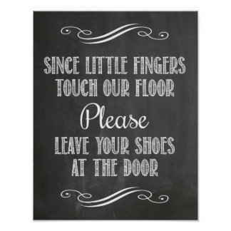 Please leave shoes at the door Faux Chalkboard Poster