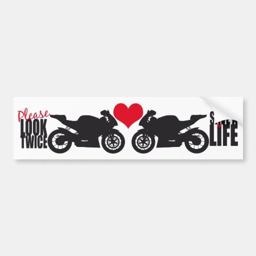 Please Look Twice • Save A Life Bumper Sticker