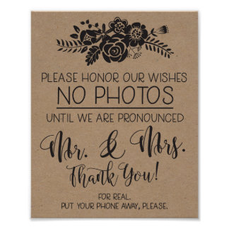 Please No Cell Phone Photos Wedding Ceremony Sign