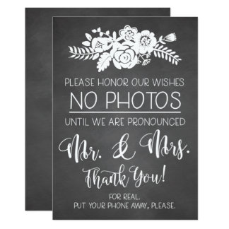 Please No Cell Phone Photos Wedding Ceremony Sign Card