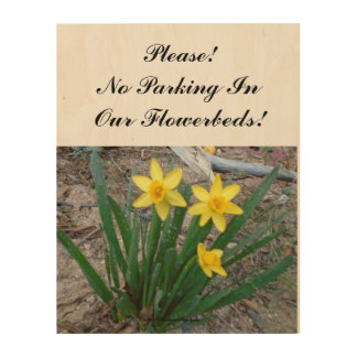 Please! No Parking In Our Flowerbeds! Wood Wall Art