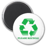 Please Recycle. Recycling Awareness. Go Green. 6 Cm Round Magnet