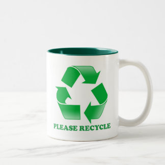 Please Recycle. Recycling Awareness. Go Green. Two-Tone Coffee Mug