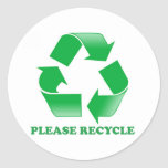 Please Recycle. Recycling Awareness. Go Green. Round Stickers