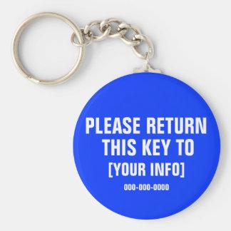 Please Return this Key with custom info Key Ring