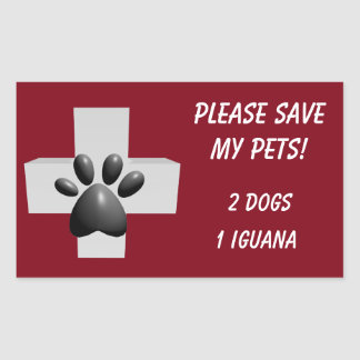 Please Save My Pets! Rectangular Sticker