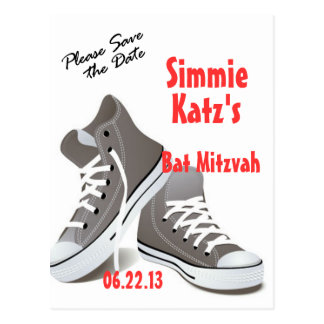 Please Save the Date Sneakers Bat Mitzvah Postcard