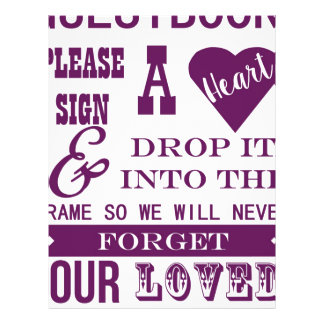 Please sign a heart Guestbook Sign Dark purple plu 21.5 Cm X 28 Cm Flyer