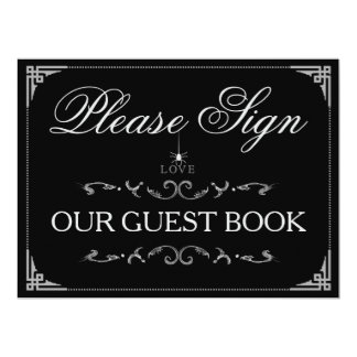 Please Sign GuestBook Halloween Spider LOVE Sign 17 Cm X 22 Cm Invitation Card