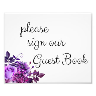 Please sign our guest book poster. Purple wedding