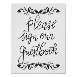 Please Sign Our Guestbook Calligraphy Wedding