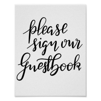 Please Sign Our Guestbook Handwritten Wedding
