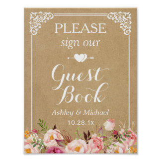 Please Sign Our Wedding Guestbook - Floral Kraft Poster