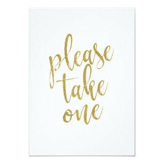 Please Take One Gold Affordable Wedding Sign Card