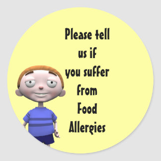 Please tell us if you suffer from Food Allergies Classic Round Sticker