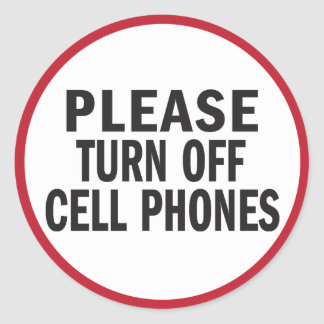 Please turn off cell phones sticker