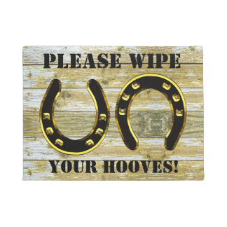 """Please Wipe your Hooves"" With Horseshoes Doormat"