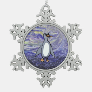Pleased Penguin Pewter Snowflake Decoration