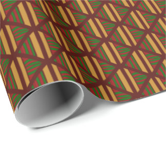 Pleasing Fall colored stripes and diamonds Wrapping Paper