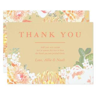 Pleasureful Peach Floral Thank You 9 Cm X 13 Cm Invitation Card