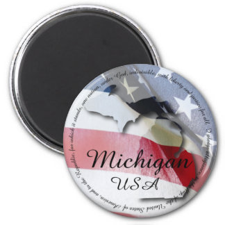 Pledge of Allegiance & Michigan 6 Cm Round Magnet