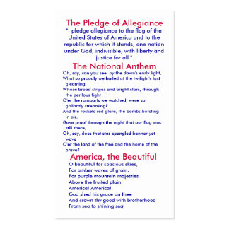 Pledge of Allegiance/National Anthem/America, ... Business Card