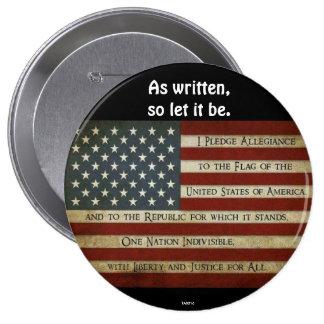 PLEDGE OF ALLEGIANCE - Original 10 Cm Round Badge