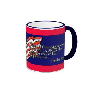 Pledge of Allegiance Psalm 33:12 Ringer Coffee Mug