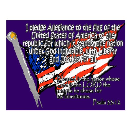 Pledge of Allegiance Psalm 33:12 Post Card