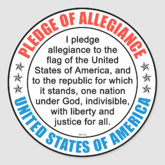 Pledge of Allegiance Round Sticker
