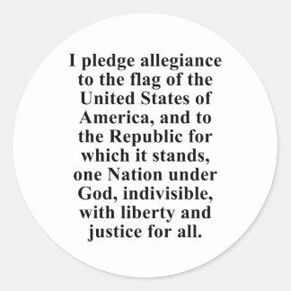 Pledge of Allegiance Round Sticker