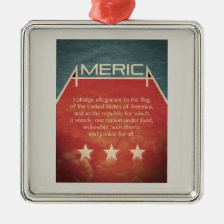 Pledge of Allegiance Silver-Colored Square Decoration